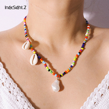 IngeSight.Z Bohemian Colorful Bead Choker Necklace Collar Women Statement Natural Shell Copper Star Pendant  Jewelry