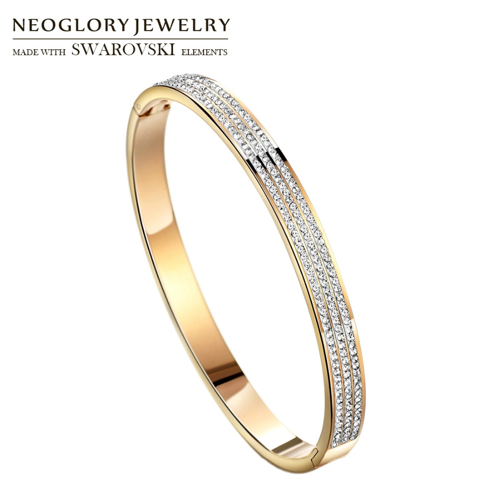 Neoglory Rhinestone & Stainless Steel Bangle Elegant Shining Round Beads Design Trendy Lady Bracelet For Party Dress Gift