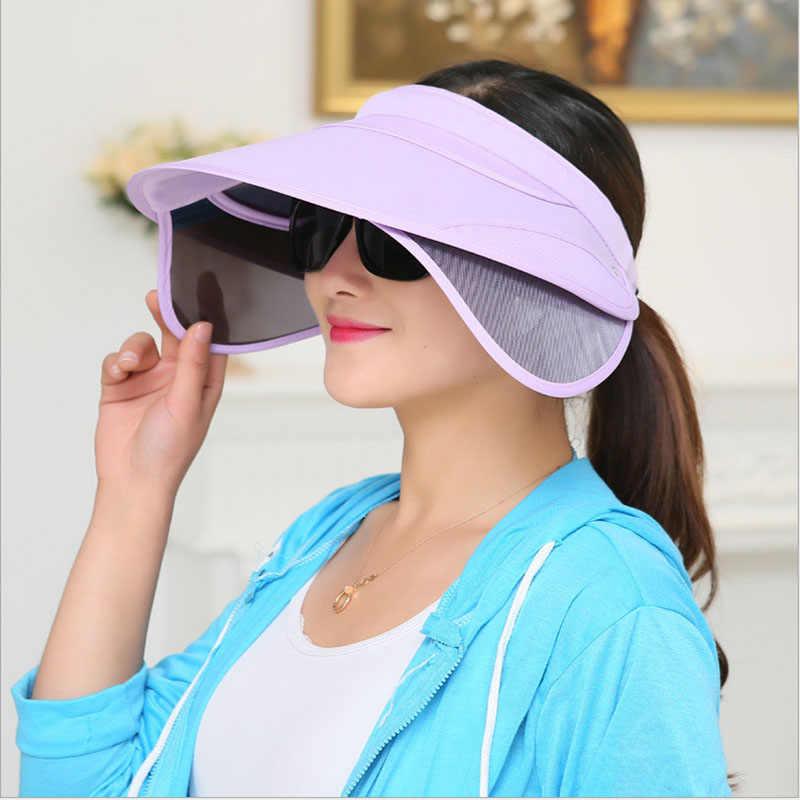 204f683983cad9 Korean Flexible Air Top Women plastic Sun visor Hat Summer Fold Sunscreen  Outdoors Sandy Beach Defence