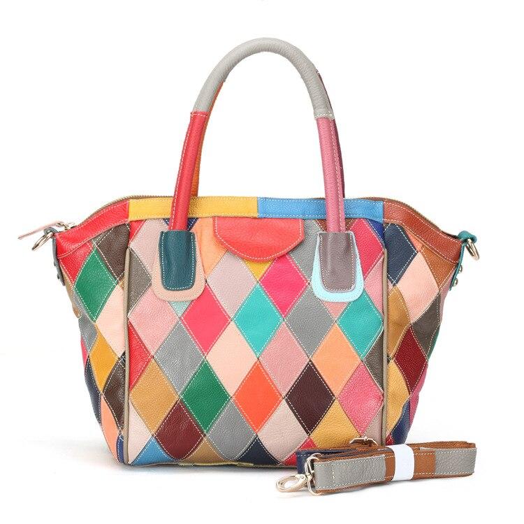 Fashion Women Hobos Bag Colorful Patchwork Handbags Real Leather Geometric Pattern geometric pattern door sticker