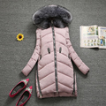 Winter wadded jacket female medium-long slim large fur collar with a hood down cotton-padded jacket fashion thickening D273