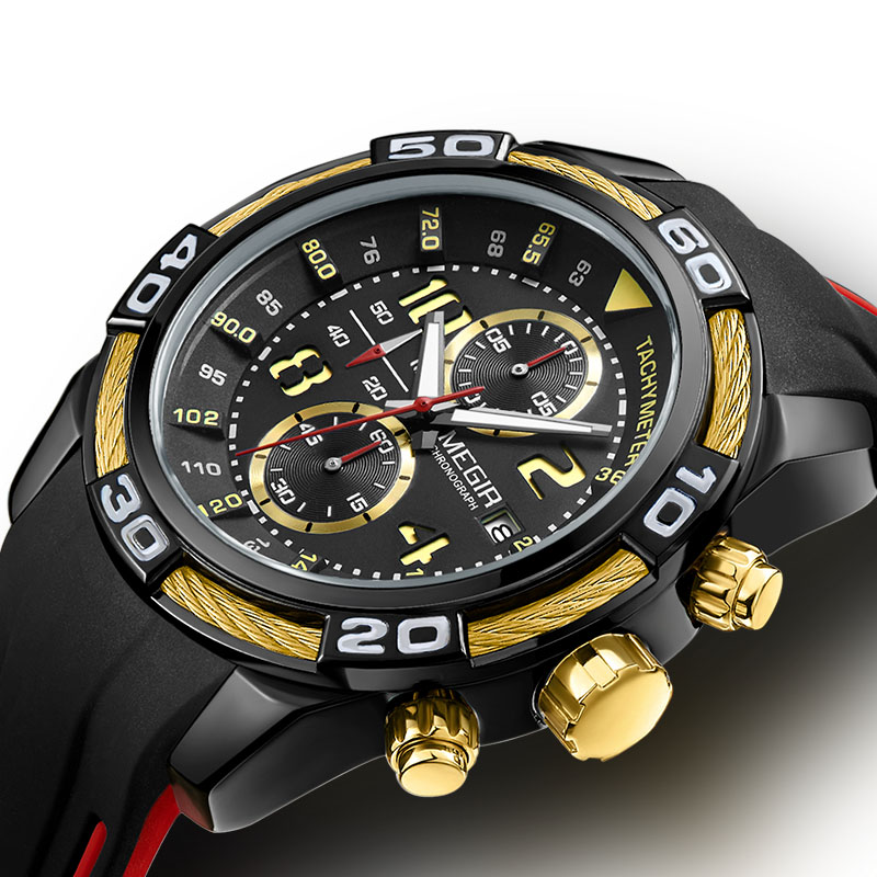 Megir Watches Chronograph Sport Watch Waterproof Analog Quartz Clock Male Army Military Sport Watches For Men Men's Wrist Watch цена и фото