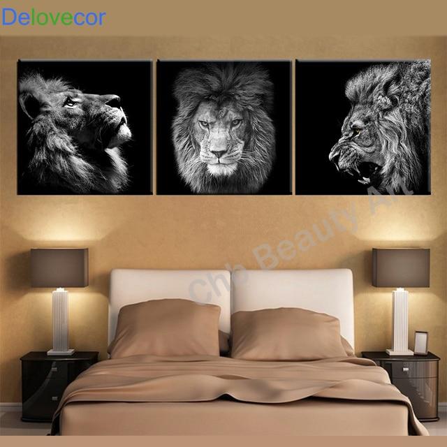 3 Panelen Dieren canvas modern abstract schilderij muur foto voor ...