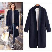 Autumn Winter Coat Women Woolen Outwear Tops Vintage Contrast Color Long Cardigan Outwears