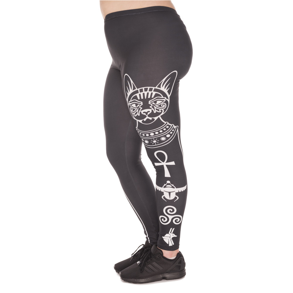 Hot S Large Size Leggings Egyptian Cat Printed High Waist Leggins Plus Size Trousers Stretch Pants For Plump Women