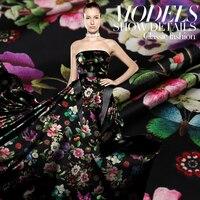 Limited hot sale fashion Colorful digital painting mulberry silk stretch satin fabric for dress tissu au meter bright cloth DIY