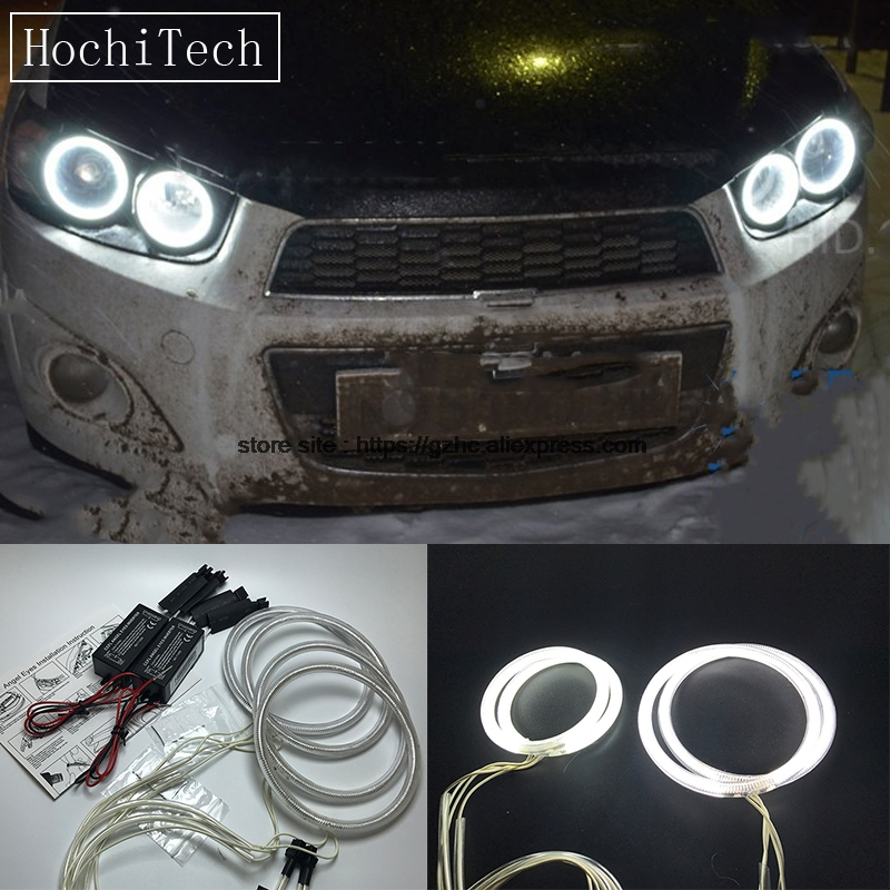 HochiTech For Chevrolet Sonic T300 2011- 2015 Ultra Bright Day Light DRL CCFL Angel Eyes Demon Eyes Kit Warm White Halo Ring цена