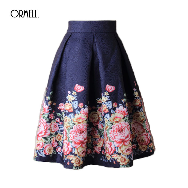 ORMELL 2019 Summer Women Skirt Vintage Embroidery Floral Print High Waist Ball Gown Pleated Midi Skater Skirts Saias for Girls-in Skirts from Women's Clothing on AliExpress - 11.11_Double 11_Singles' Day 1