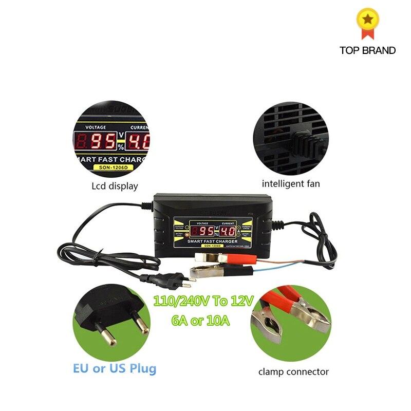 TLXC 110 V/220 V À 12 V 6A Plein-Automatique Auto chargeur de batterie Numérique écran lcd Smart Power chargeur de batterie UE Plug
