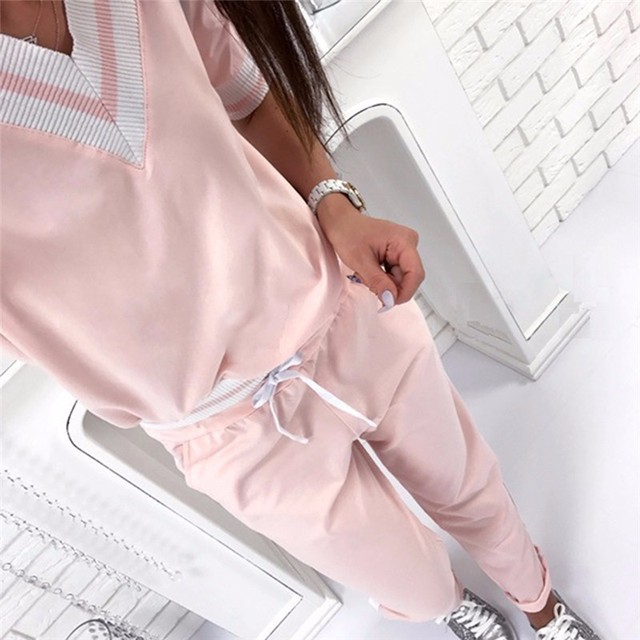 25ec334349607 Women Autumn Sport Suit V-neck Long Sleeve Sportswear Pink Stripe Fitness  Running Jogging Suit Loose Gym Sweatshirt + Pants