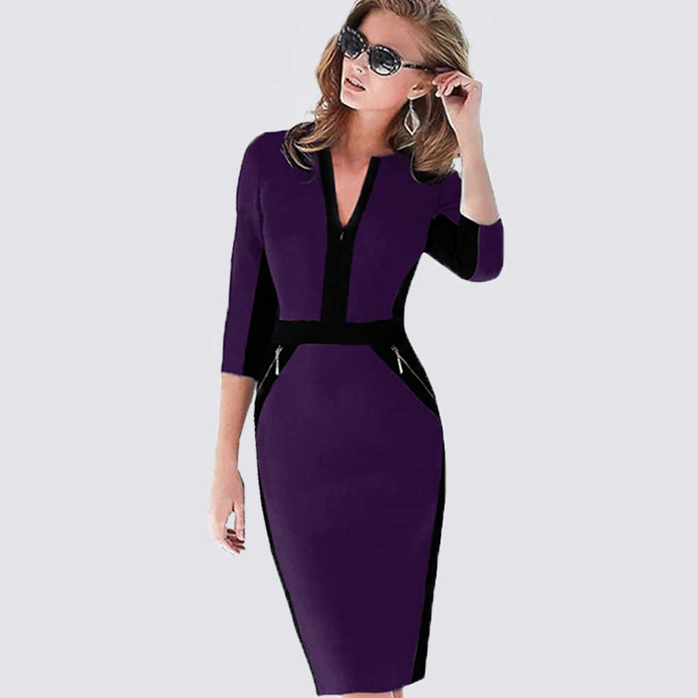 Plus Size Vrouwen Herfst Werk Office Business Colorblock Pencil Dress Casual Rits Patchwork Schede Bodycon Jurk 837