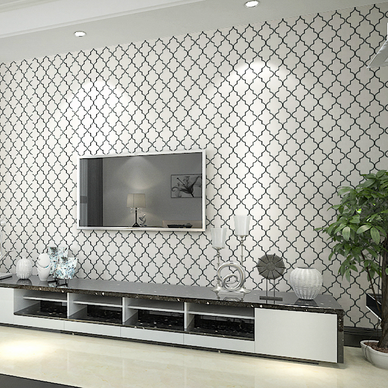 Moroccan Trellis Black White Modern Geometric Pattern Wallpaper Roll Quatrefoil Wall Paper Bedroom Live Room Background Decor In Wallpapers From Home
