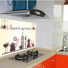 cheap sale! Removable 45*75cm wine glasses oil proof kitchen sticker vinyl wall decor decal decoration stickers to the kitchen
