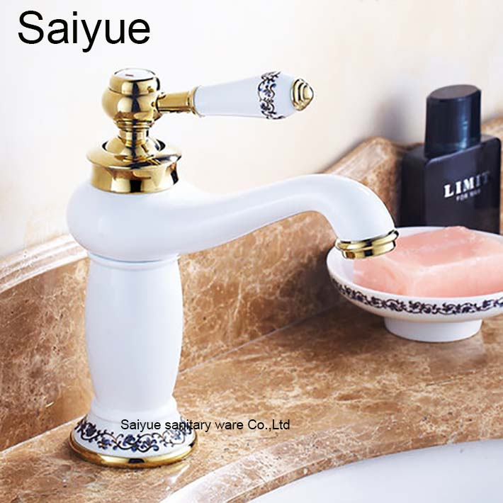 New Luxury Baked Grilled Blue and White Paint Gold-Plated Faucet Hot and Cold Taps Bathroom Vessel Sink Lavatory Basin Grifo