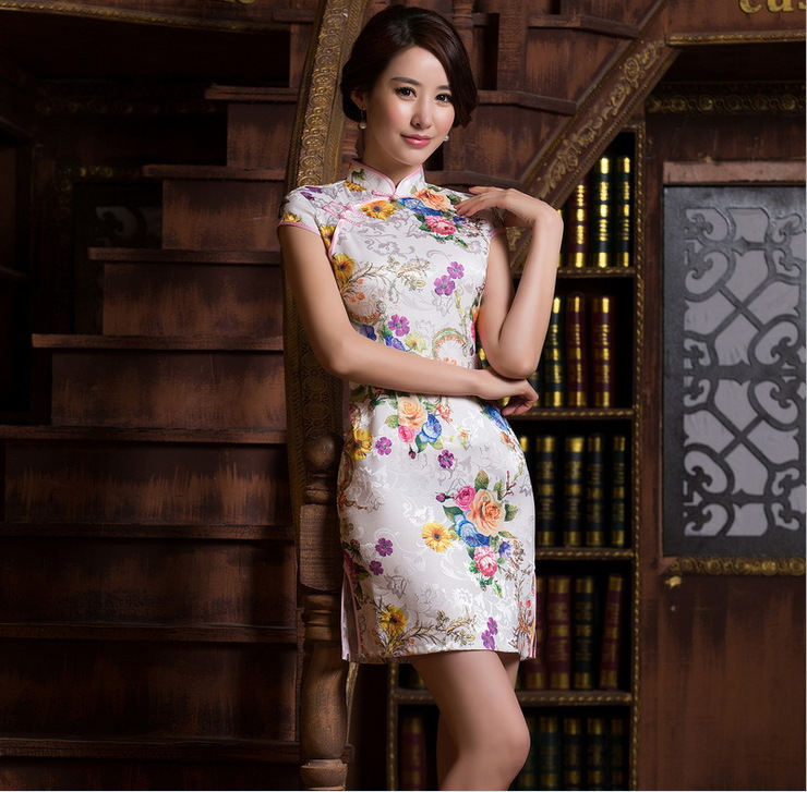 Charming Elegant Retro Floral Printing China Chinese Cheongsam Short Cheongsams  Qipao Sexy Delicate Handmade Party Dress 262a67ca3c7b