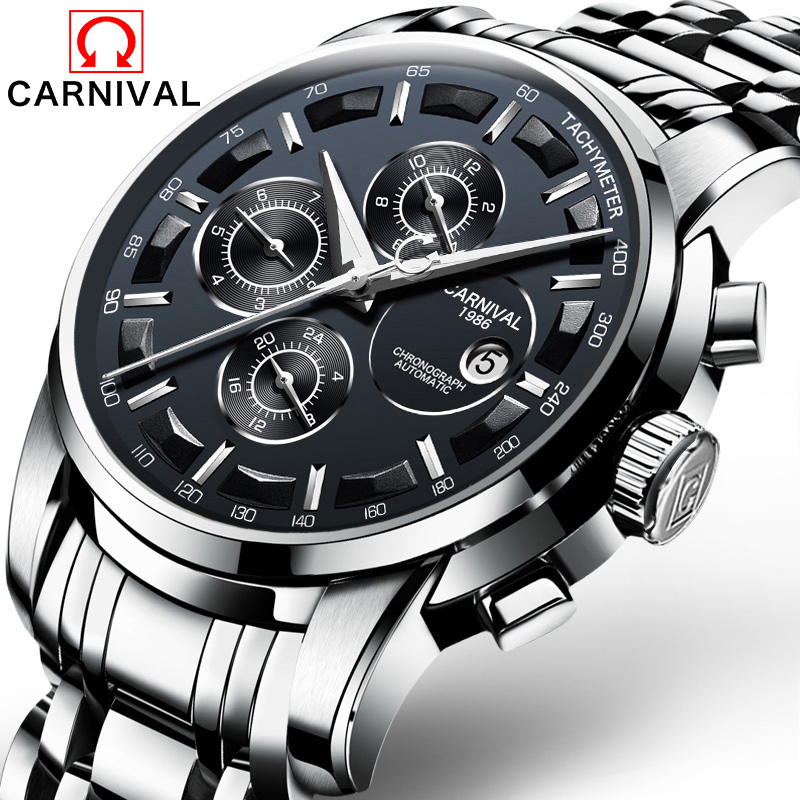 CARNIVAL Mens Automatic mechanical Watches Top Brand Luxury Dive 30M Sport casual Steel Wrist watches Relogio masculinoCARNIVAL Mens Automatic mechanical Watches Top Brand Luxury Dive 30M Sport casual Steel Wrist watches Relogio masculino