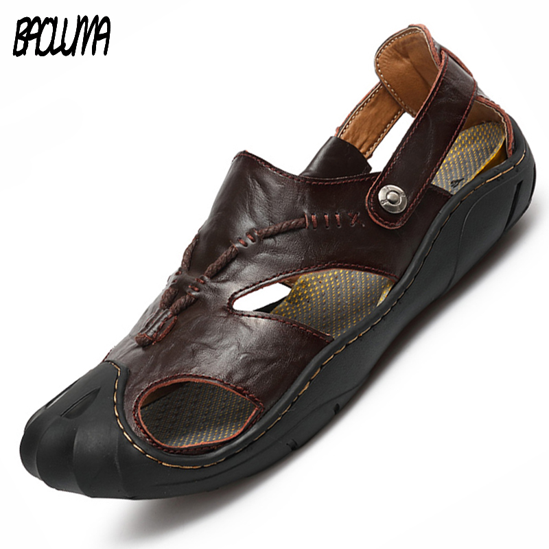 Mens Sandals Leather Beach Sandals Brand Men Casual Shoes Genuine Split Leather Sneakers Men Slippers Flip Flops Summer Shoes