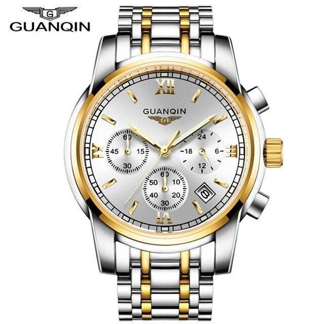 d70a2bdaf6d GUANQIN Homens Relógios Top Marca de Luxo relogio masculino de Negócios de  Moda Relógio de Quartzo