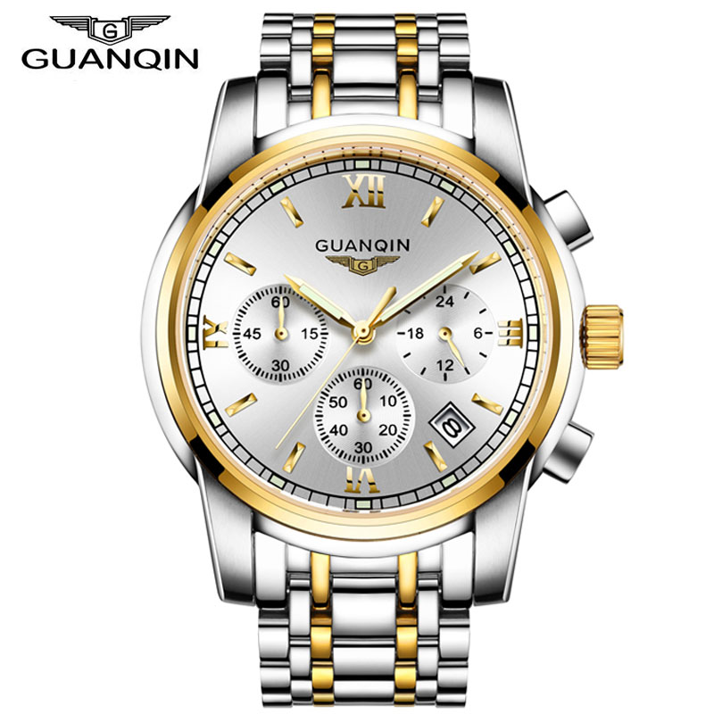 relogio masculino GUANQIN Mens Watches Top Brand Luxury Fashion Business Quartz Watch Men Sport Full Steel Waterproof Wristwatch montre homme guanqin watches men sport casual leather quartz watch mens luxury top brand waterproof wristwatch relogio masculino