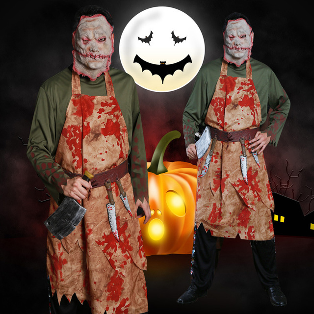Bar Party evening performance Halloween Cosplay Costume bloody chef blood stained ghost adult cook kitchener men's clothing