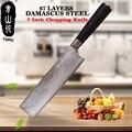 QING Professionele Japanse Damascus Mes 7 inch Ultra Sharp Hakmes Hoge Taaiheid Keukenmes Top Grade Koken Tool