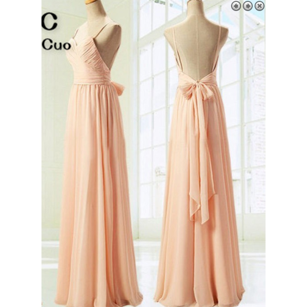 2018 Nude Pink Prom Dresses Long Spaghetti Straps Floor Length Backless Bow Ribbon -5214