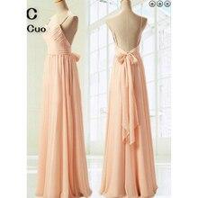 2018 nude rosa vestidos de baile longo cintas de espaguete até o chão sem costas laço fita formal festa à noite vestido para mulher