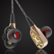 Double Dynamic In-Ear Earphone Bass Subwoofer HIFI Stereo Sport Headset with Microphone for Phone