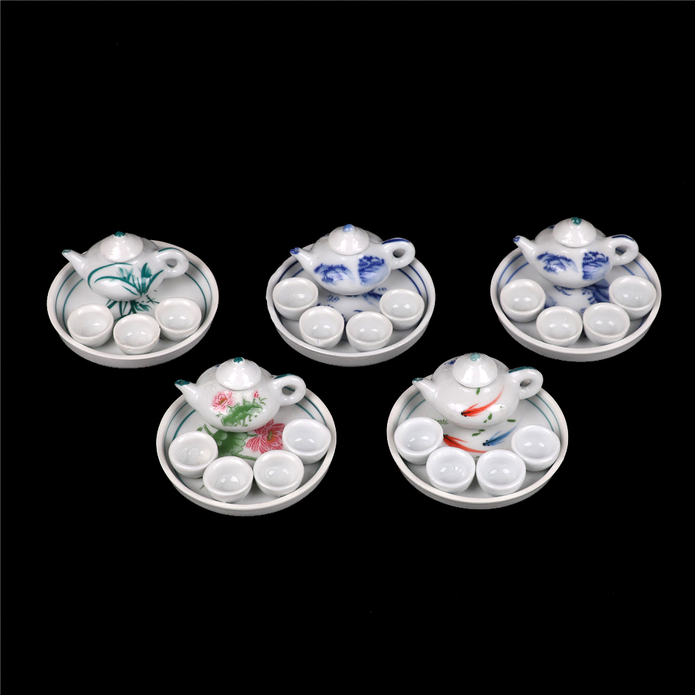 6pcs Miniature Dollhouse Dinnerware Porcelain Tea Set Tableware Cup Plate Colorful Floral Print Random Send