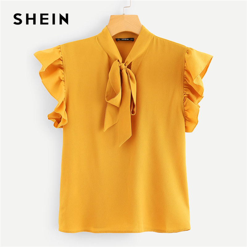 SHEIN Mustard Elegant Office Lady Flounce Shoulder Tied Neck Floral Solid Ruffle Blouse Summer Women Chiffon Tops And Blouses