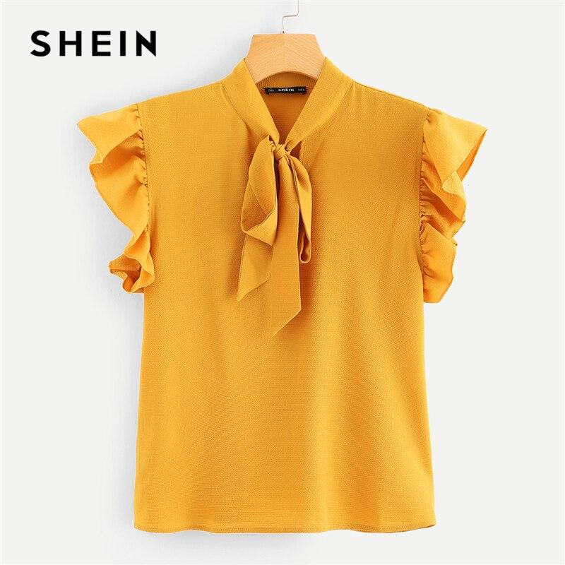 SHEIN Mustard elegante Oficina señora Flounce hombro atado cuello Floral sólido volante blusa 2018 verano mujeres Tops y blusas