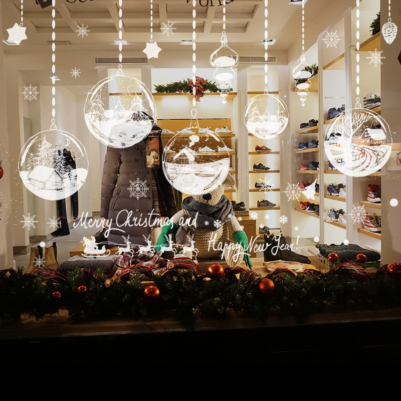 personality chandelier new year christmas decorations for home glass doors and windows background decoration removable stickers in pendant drop ornaments