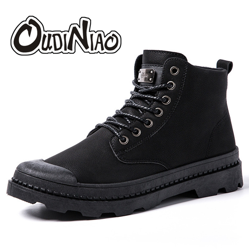 OUDINIAO Mens Shoes Casual Punk Luxury Autumn Black Lace Up Shoes Men High Top 2017 Warm Skateboard Ankle Classic Metal Men Shoe hot sale men s shoes casual shoes for men winter autumn low top patchwork canvas fashion lace up mens classic casual shoes