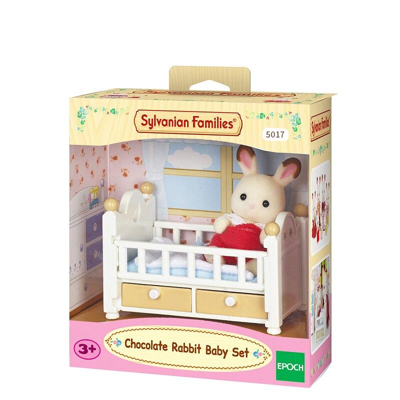 Sylvanian rodziny meble do domku dla lalek rysunek zabawki lalki czekoladowe królik zestaw z łóżkiem dla dzieci dziewczyna prezent nowy #5017