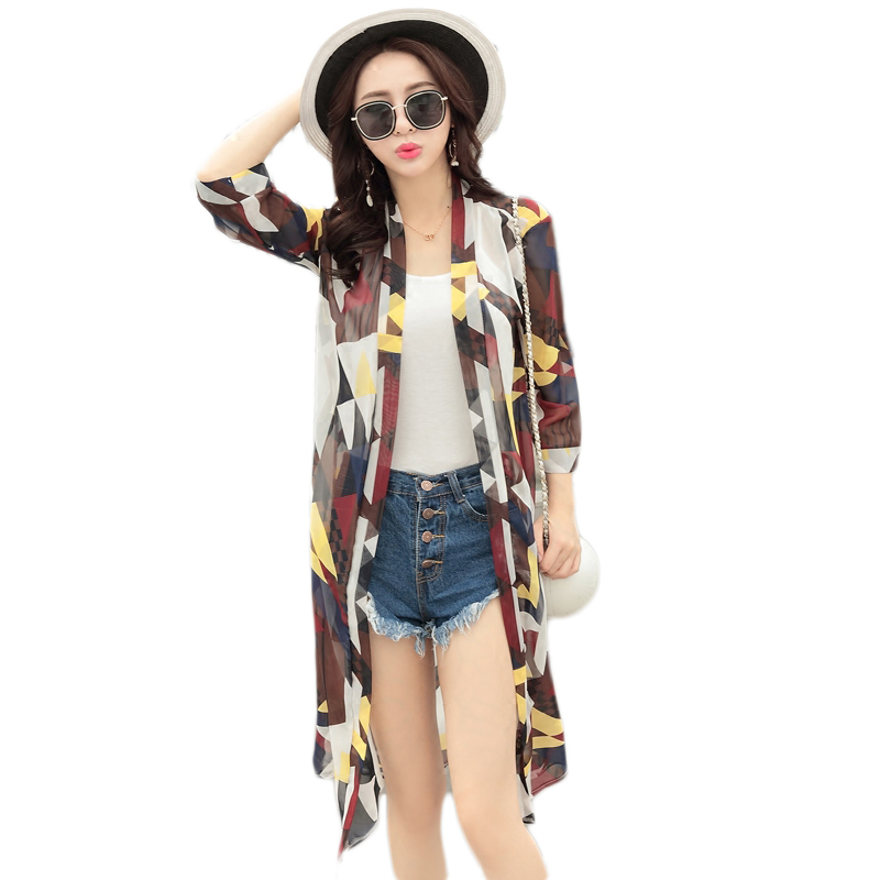 New Summer Beach sun protection clothing large size thin paragraph chiffon coat loose wi ...