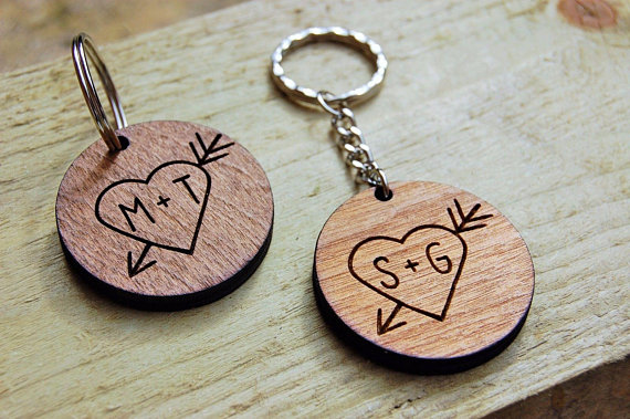 Personalised Wooden Keyring Birthday Gift Unique Idea Etched Laser Engraved Couples Present In Party DIY Decorations From