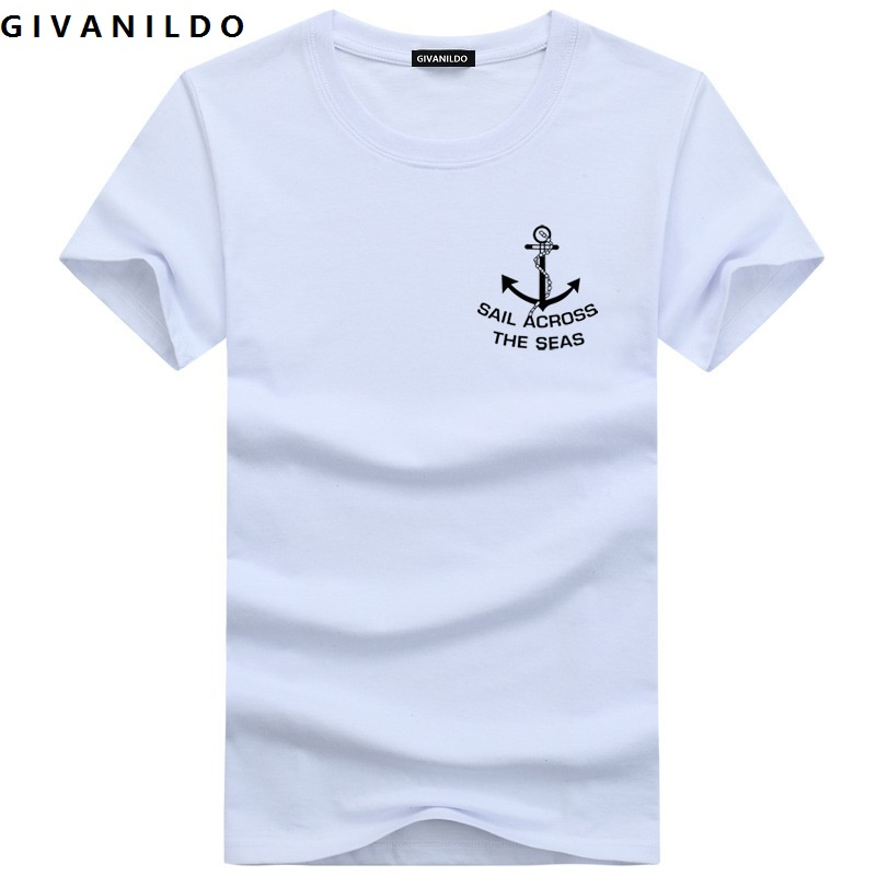2016 Fashion Brand Slim Fit Anchor College Printed Short Sleeve High Quality Men T Shirt Casual