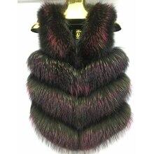 Welfurlena Natural Fox Fur Vest Women Full Pelt Autumn Winter Warm Sleeveless Coat Female Natural Silver Fox Fur Vest Jacket