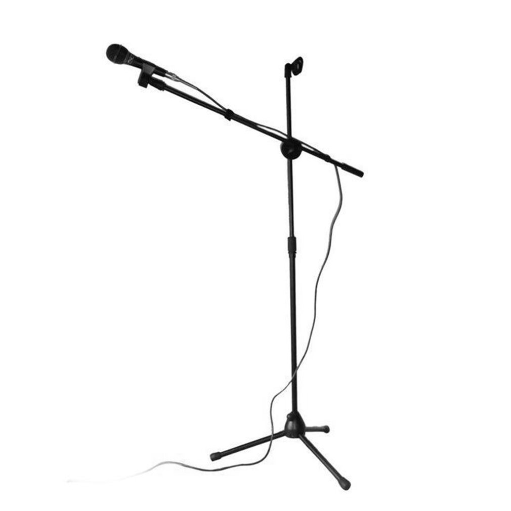 Universal Microphone Tripod Floor Stand Adjustable Microphone Clip Holder Detachable Double-headed Stage Microphone Stand