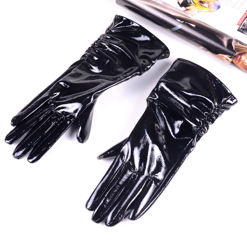 Women's Ladies Genuine Shiny Leather Patent Leather Black Mid-Long Evening Gloves Ruched Gloves