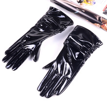 Womens ladies Genuine Shiny leather Patent Leather Black Mid-Long evening gloves Ruched Gloves