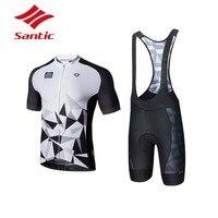 Santic Велоспорт Комплект Велосипедная форма Для мужчин лето Pro мягкий дышащий Велоспорт Джерси комплект костюм велосипед триатлон Ropa Ciclismo