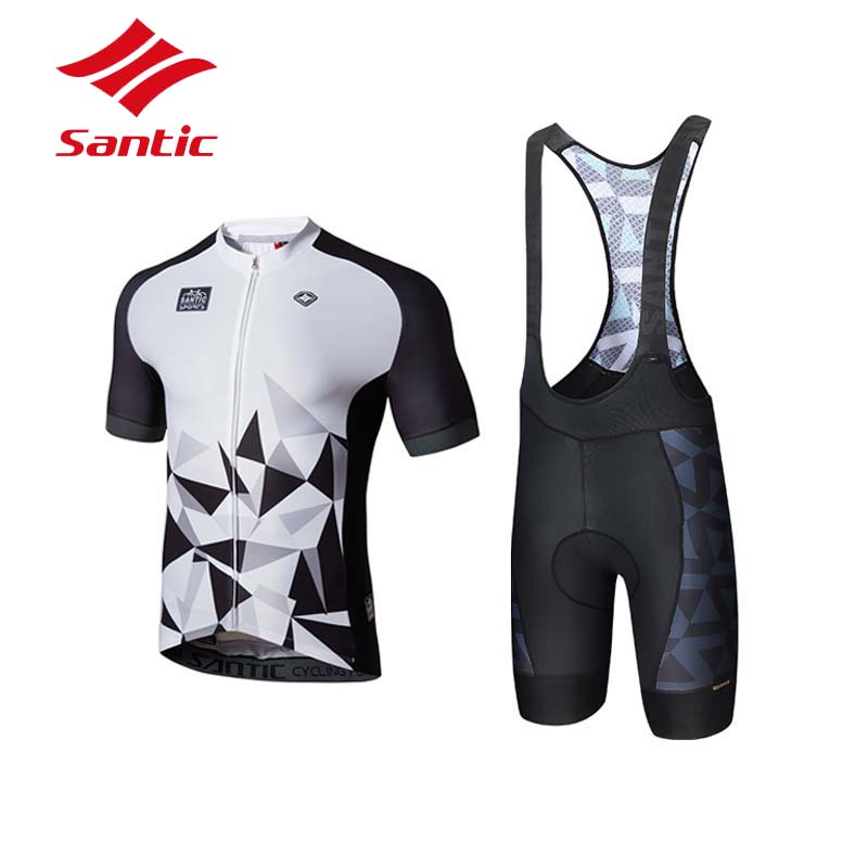 Santic Cycling Set Cycling Clothing Men Summer Pro Padded Breathable Cycling Jersey Set Suit Bicycle Triathlon Ropa Ciclismo aubig cool unisex ladies men summer breathable elasctisch cycling clothing full zip jerseys radshorts suit