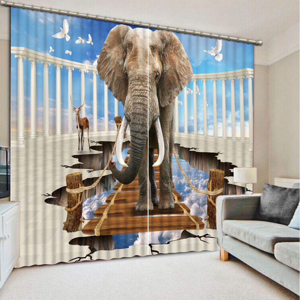 custom luxury 3d curtains Elephant in the sky with pigeons curtains for living room kitchen blackout curtainscustom luxury 3d curtains Elephant in the sky with pigeons curtains for living room kitchen blackout curtains