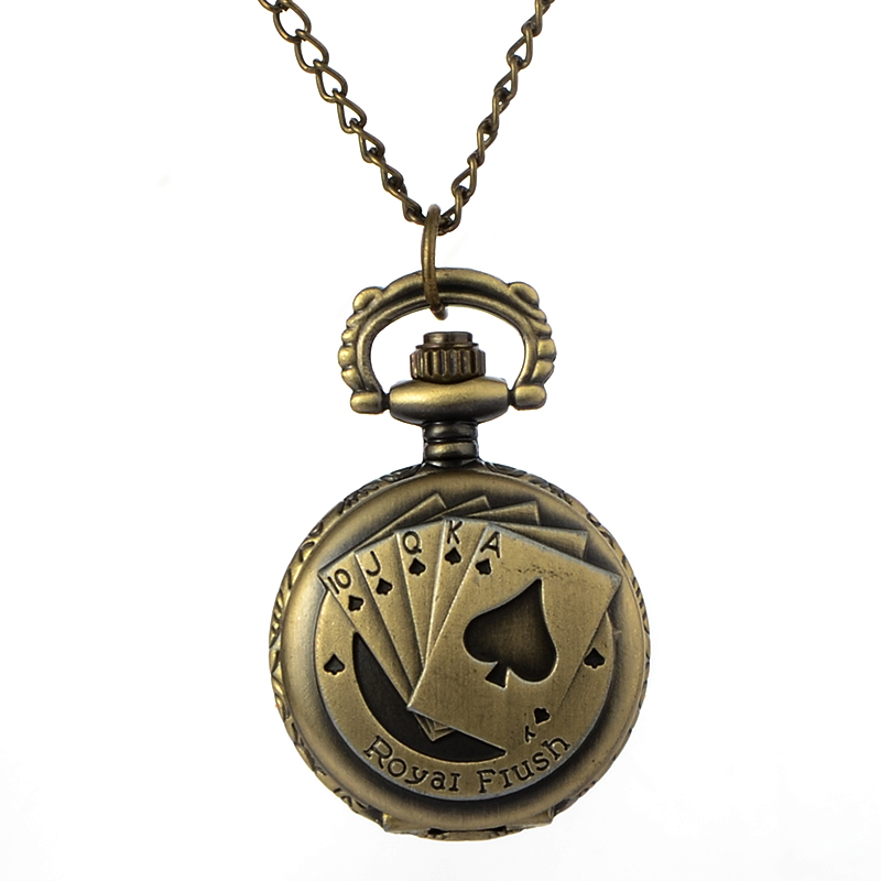 Relogio Retro Bronze Quartz Pocket Watch steampunk Clock Watches with Poker Pattern Necklace watches Mens Womens Christmas Gifts antique fullmetal alchemist full metal case bronze pocket watch with chian necklace christmas