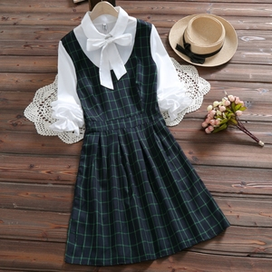 Mori girl cute kawaii plaid dr