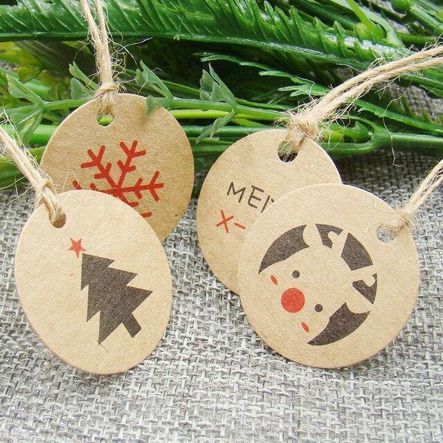 3*3 cm forma de círculo 100 pcs favores do presente de natal de papel kraft tag do cair para o natal/brinquedo do bebê pacote de exibição