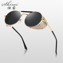 2019 Trendy Mate Retro Steampunk Sunglasses Round Designer S