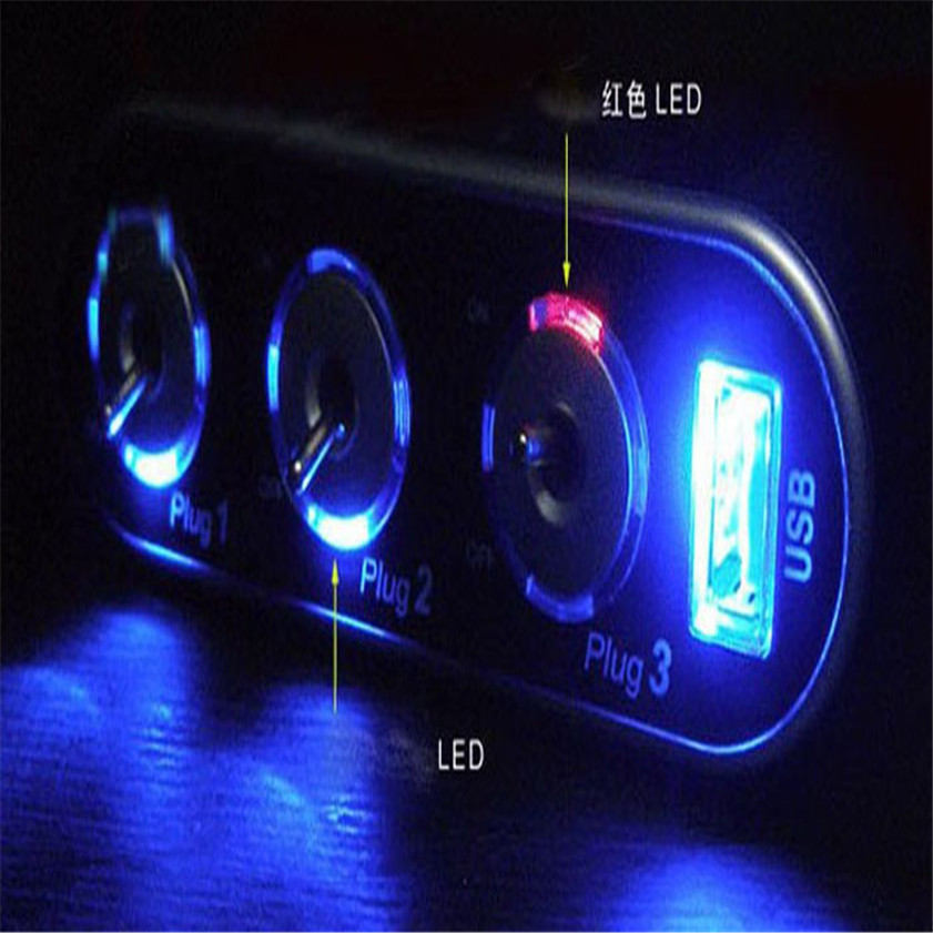 High Quality 3 Way Triple Car Cigarette Lighter Socket Splitter 12V/24V +USB+LED Light Switch lux 3 usb 05 3 usb 5