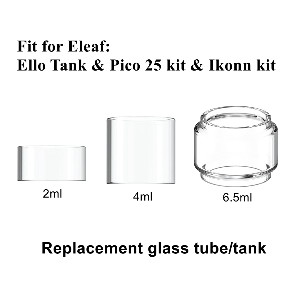Hxjvape Original Replacement Pyrex Bubble Glass Tube Tank For ELEAF 4/2ml ELLO Tank Pico 25 / Ikonn KIT Spare Bulb Glass Tube